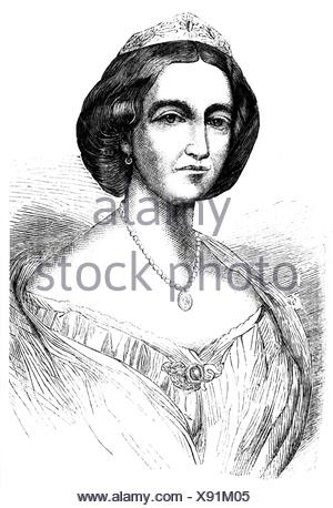 Christian IX, 8.4.1818 - 29.1.1906, King of Denmark 15.11.1863 - 29.1.1906, portrait of his woman, Louise of Hesse-Kassel (1817 - 1898), wood engraving, 19th century,