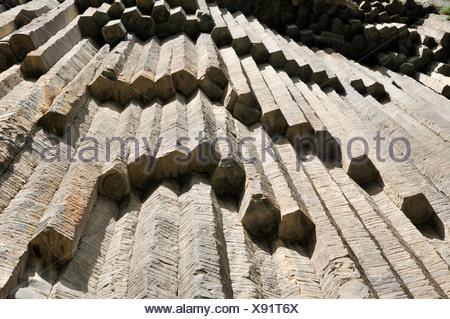 Huge basalt columns at Awan Gorge near Garni, Canyon, Kotayk region, Armenia, Asia - Stock Photo