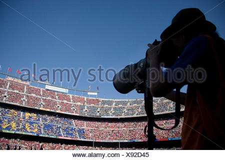 Camp Nou, Barcelona Football Club stadium, Barcelona, Catalonia, Spain, Europe - Stock Photo