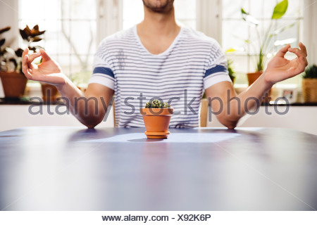 Young man meditating over a small pot of a succulent - Stock Photo