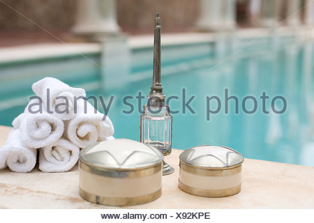 Objects by swimming pool - Stock Photo