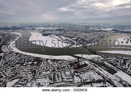 Aerial photo, inland harbour, Duisport, Duisburg Harbor, Ruhrort, Duisburg, Ruhr, North Rhine-Westphalia, Germany, Europe - Stock Photo