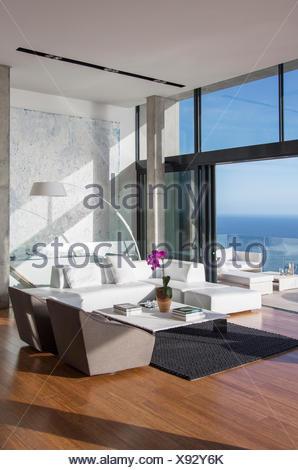 Sliding glass doors of modern living room - Stock Photo
