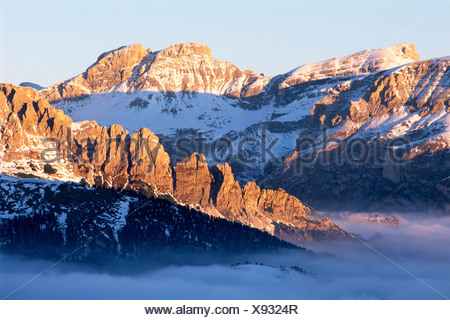 View in the direction of the Groedner Pass from the Sella Pass, Province of Bolzano-Bozen, Italy, Europe - Stock Photo