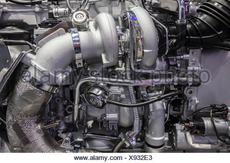 Heavy duty truck turbo diesel engine with two turbochargers - Stock Photo