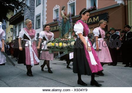 Feast of Corpus Christi in Marktschellenberg near Berchtesgaden Upper Bavaria Germany - Stock Photo