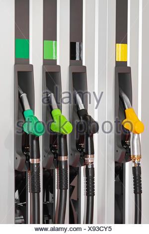four, fuel, diesel, nozzles, petrol, gasoline, pump, station, four, fuel, gas, - Stock Photo