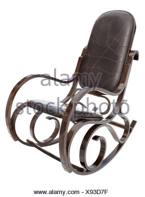 Rocking chair isolated on white - Stock Photo