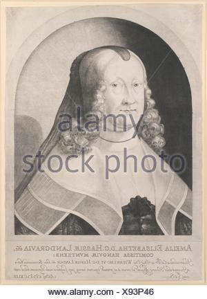 Amelia Elizabeth, Landgravine of Hesse. Artist: Ludwig von Siegen (German, 1609-after 1676); Date: 17th century; Medium: Mezzotint; first state; - Stock Photo