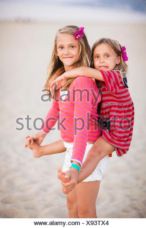 Two sisters on vacation, Greece. - Stock Photo