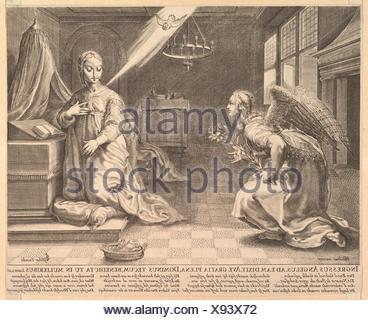 The Annunciation. Artist: After Hendrick Goltzius (Netherlandish, Mühlbracht 1558-1617 Haarlem); Publisher: Claes Jansz. Visscher (Dutch, Amsterdam - Stock Photo