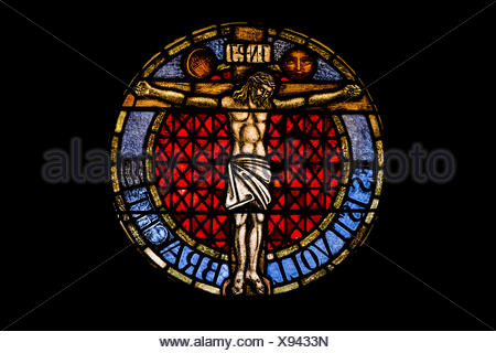 stained glass window, crucifixion - Stock Photo