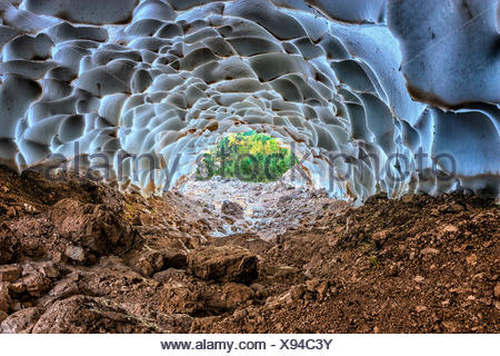 Italy, Veneto, Cortina d'Ampezzo, Sorapiss lake, inside an ice cave. - Stock Photo