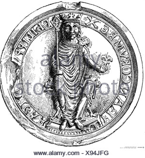 Philip II Augustus, 25.8.1165 - 14.7.1223, King of France  18.9.1180 - 14.7.1223, seal, wood engraving, 19th century, , - Stock Photo