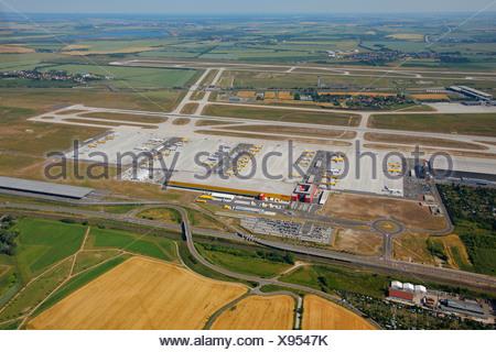 Aerial view, Leipzig International Airport, cargo airport, Schkeuditz, Saxony, Germany, Europe - Stock Photo