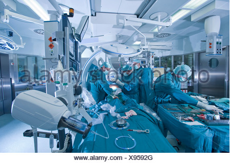 Cardiac surgery in a hybrid operating room, Deutsches Herzzentrum Berlin or German cardiac center, Berlin, Germany, Europe - Stock Photo