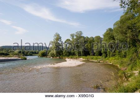 Isar river Geretsried Upper Bavaria Germany - Stock Photo