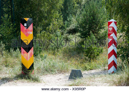 Border posts at the border crossing between Germany and Poland, Ahlbeck, Swinemuende, Swinoujscie, Usedom Island - Stock Photo