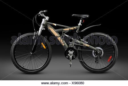 MTB sport 21-speed dual suspension mountain bicycle - Stock Photo