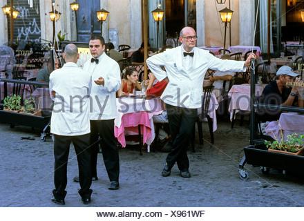 Waiters, Ristorante Tucci, Piazza Navona, Rome, Lazio, Italy, Europe - Stock Photo