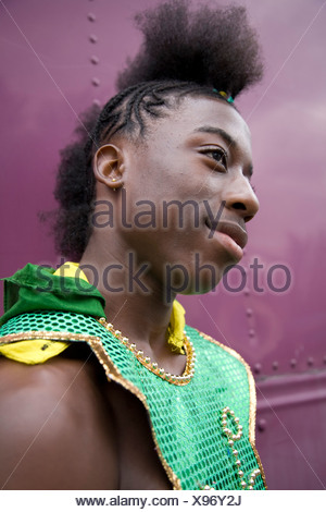 Young man in carnival costume. Portrait. Notting Hill Carnival, Notting Hill. London. England. UK. - Stock Photo