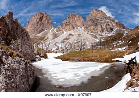 The Langkofel seen from the four-and-a-half-hour, moderately difficult hike around its main summit in the Gardena/Gröden Dolomites, South Tyrol, Trentino Alto Adige Italy Europe - Stock Photo