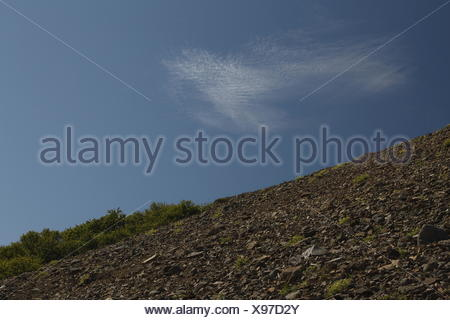 Cirrocumulus clouds above the Hvannagil canyon. Hiking trail from the Stafafell farm to the Hvannagil canyon. Lónsöræfi Natur - Stock Photo