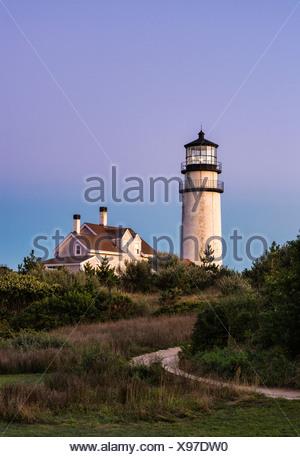 Rustic, weathered lighthouse, Highland Light, Truro, Cape Cod, Massachusetts, USA - Stock Photo