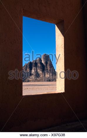 Seven Pillars of Wisdom, Wadi Rum, Jordan, Middle East - Stock Photo