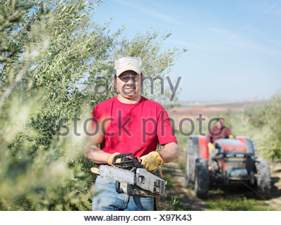 Man with chain saw in olive grove - Stock Photo
