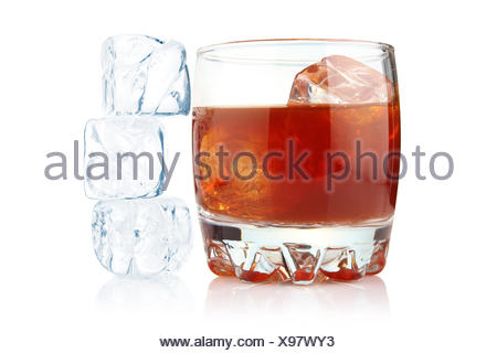 Glass of whiskey with ice cubes isolated - Stock Photo