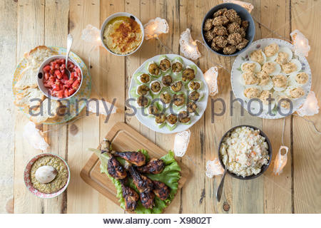 Overhead view of party food - Stock Photo