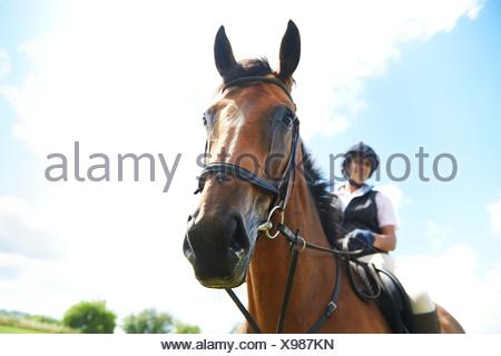 Low angle view of mature woman on horseback looking at camera - Stock Photo