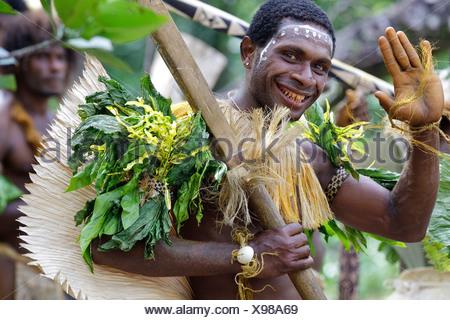 Primitive people, Santa Cruz Island, Solomon Islands, Melanesia, Oceania - Stock Photo