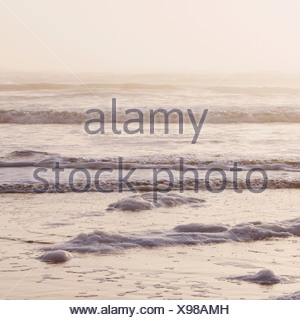 Seascape at dusk Waves breaking on the shore Tidal zone Off the shores of the Olympic National park in Washington USA - Stock Photo