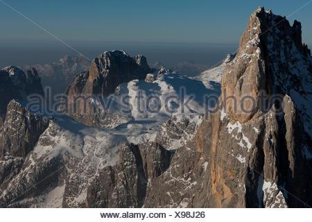 Aerial view of Cimon della Pala peak. Paneveggio natural park, Pale di San Martino groups, Dolomites. Trento province, Trentino Alto Adige region. Italy, Europe - Stock Photo