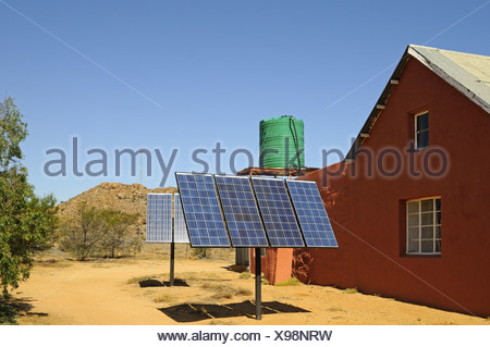 Solar panels at a farm house, South Africa - Stock Photo