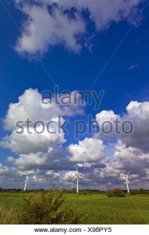 three wind wheels near Dorum, Germany, Lower Saxony - Stock Photo