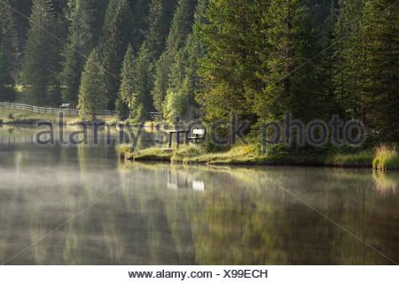 Morning mood at Lake Prebersee, Lungau, Salzburg state, Salzburg, Austria, Europe - Stock Photo