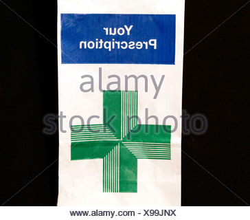 N H S Prescription bag, Your Prescription, UK National Health Service, medicine - Stock Photo