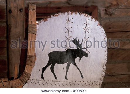 Canada Thunder Bay Ontario Birch Canoe Old Fort William Traditional Traditional Boat Moose Wood North America Stock Photo