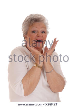 Closeup of exiting senior woman. - Stock Photo