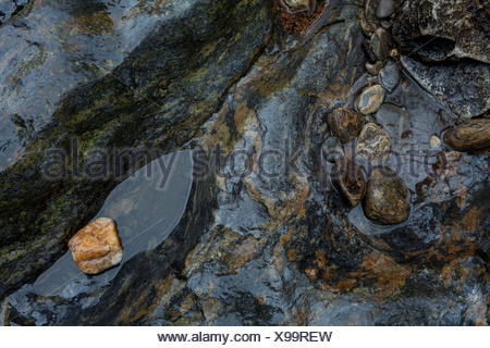 Stones in the stream course of the Schwarzer Regen, Bavarian Forest, Bavaria, Germany, - Stock Photo
