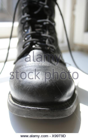 boot shoes sole shoelace ribbons shoe schnrschuh schuhspitze militrstiefel - Stock Photo