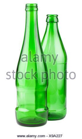 Two empty green bottles - Stock Photo