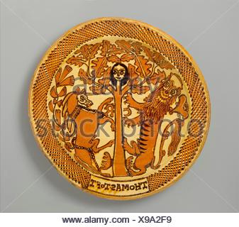 Charger. Maker: Thomas Toft (working before 1663, died 1689); Date: ca. 1680; Culture: British, Staffordshire; Medium: Slipware; Dimensions: Overall: - Stock Photo