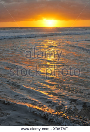 Sunset at the Atlantic, Fuerteventura, Canary Islands, Spain, Europe - Stock Photo