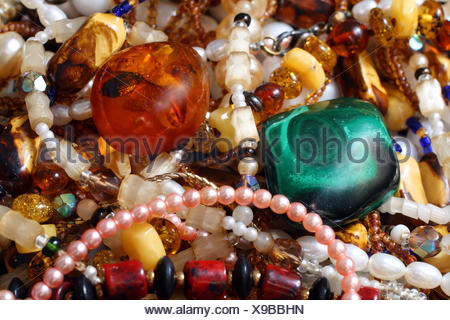 jewelry necklace and gems - Stock Photo