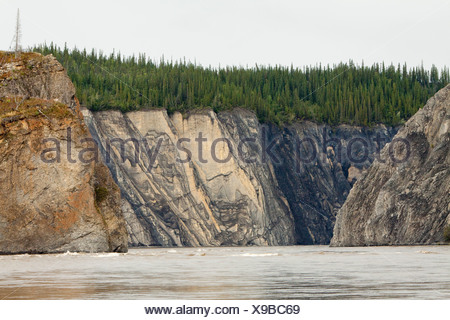 Spiral rock structures and rapids of Peel River Canyon, Peel River, Peel Watershed, Yukon Territory, Canada - Stock Photo