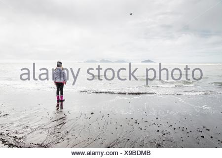 Young girl, standing on beach, looking at view, rear view, Landeyjahofn, Iceland - Stock Photo